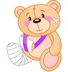 cartoon sick teddy bear vector image vector image