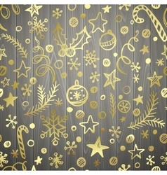 Christmas and New Year golden seamless pattern in vector image