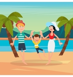 Family Summer Vacation Happy Family on the Sea vector image vector image