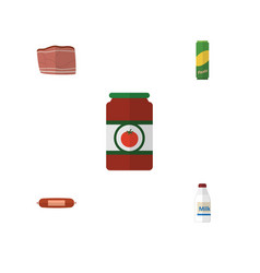 Flat icon meal set of kielbasa beef ketchup and vector