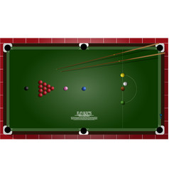 Flat object design set snooker table and vector