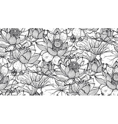 Floral seamless pattern with hand drawn lotus vector image vector image
