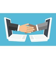 handshake from laptop screen vector image vector image