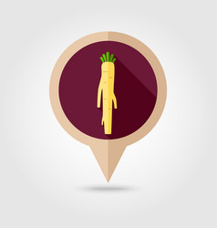 Horseradish flat pin map icon vegetable root vector