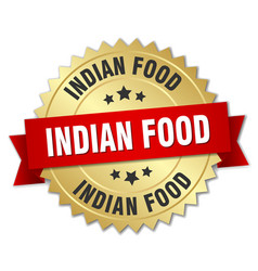 Indian food 3d gold badge with red ribbon vector