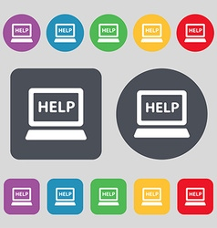 Laptop tech service icon sign a set of 12 colored vector