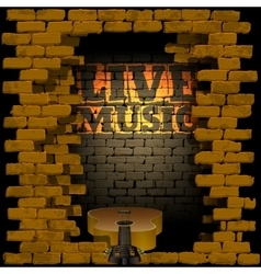 live music brick wall flash of lightning vector image vector image