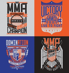 Mma t-shirt design emblem set vector