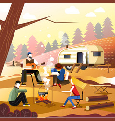 People camping of friends in forest outdoor vector