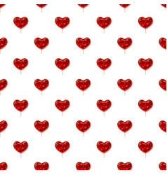 Red heart shaped lollipop pattern vector