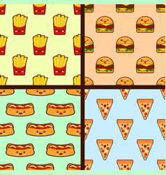 set of fast food seamless patterns kawaii vector image
