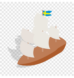 Ship with swedish flag isometric icon vector