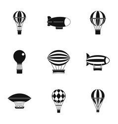 Vintage balloons icon set simple style vector