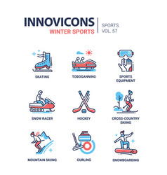 winter sports - line design icons set vector image vector image