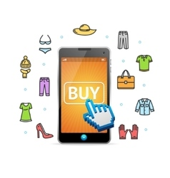 Online shopping clothing with mobile app vector