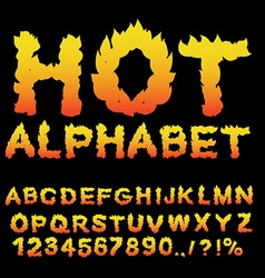 Hot alphabet flame font fiery letters burning abc vector