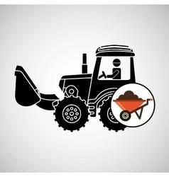 construction truck concept wheelbarrow design vector image