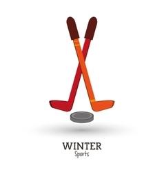 winter sport hockey sticks puck design vector image