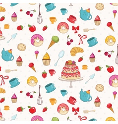 Seamless pattern of croissantdonutscakesapples and vector
