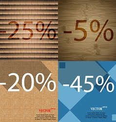 5 20 45 icon set of percent discount on abstract vector