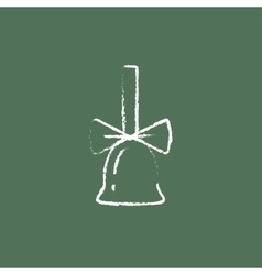 School bell with ribbon icon drawn in chalk vector