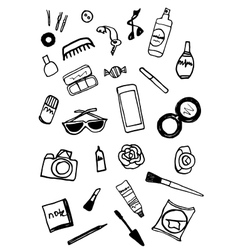 Hand drawn black and white collection of make u vector