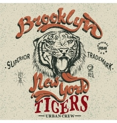 Vintage trademark with tiger vector