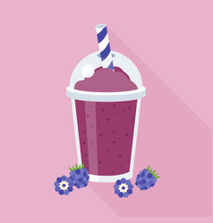 blackberry smoothie in plastic glass vector image vector image