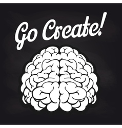 Blackboard poster with brain and lettering vector