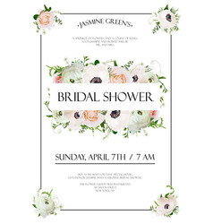 bridal shower template invitation card design vector image vector image