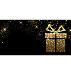 Christmas background with golden gift vector image vector image