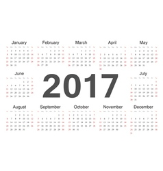 Circle european calendar 2017 vector image