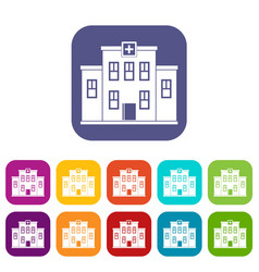 City hospital building icons set flat vector