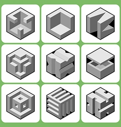 cube icon set 3 vector image