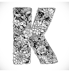 Doodles font from ornamental flowers - letter k vector