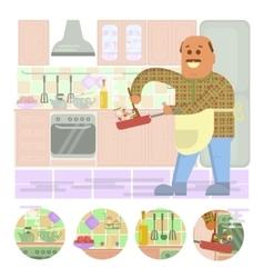 Fat bald man with frying pan vector