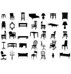 furniture silhouette set vector image vector image