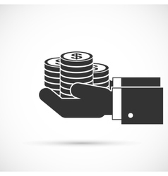 Hands holding coins vector image vector image