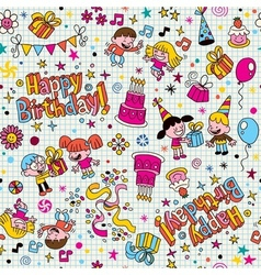 Happy Birthday kids party pattern 3 vector image vector image