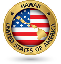 Hawaii state gold label with state map vector
