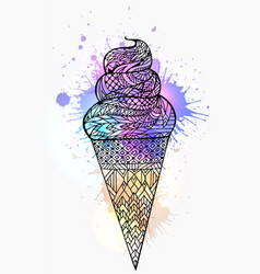 ice cream cone with boho pattern and watercolor vector image vector image
