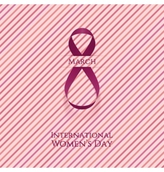 March 8 womens day curved pink greeting ribbon vector