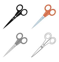 Metal scissors with red handles school device vector