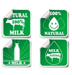 Natural milk product stickers vector