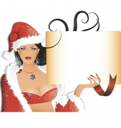 Sexy santa girl with background vector