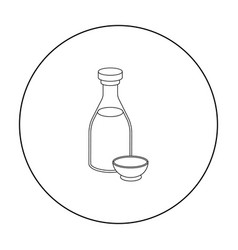 Soy sauce icon in outline style isolated on white vector