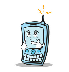Thinking face phone character cartoon style vector
