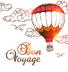 Travel background with air balloon vector