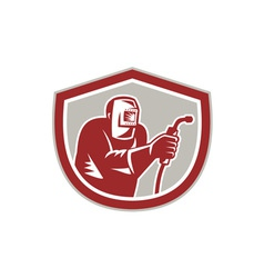 Welder worker holding welding torch shield retro vector