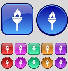 Torch icon sign A set of twelve vintage buttons vector image